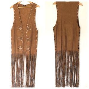 VINTAGE Studded & Fringed Hippie Vest Full Length
